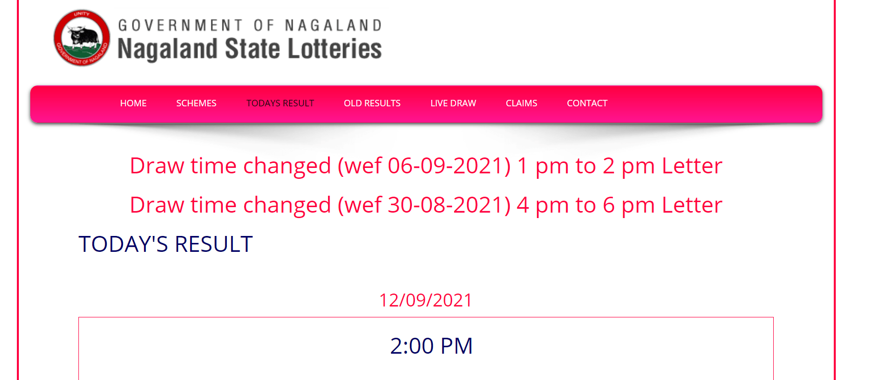 Nagaland State Lottery Result 2:00 PM